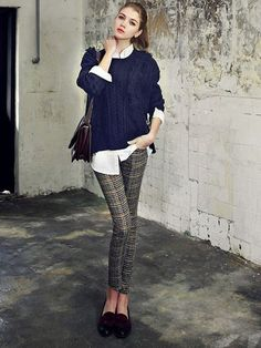 Navy Jumper With Whit Blouse And Slim Plaid Pants Three-piece Suit | abaday