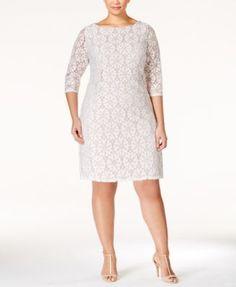 Jessica Howard Plus Size Lace Shift Dress - Dresses - Women - Macy's