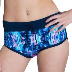 Women's Dolfin Bellas Print Boyshort Bottoms, Size: Medium, Blue (Azure)
