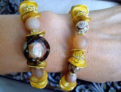 Stacking Tibetan Bracelets-Brown Animal print bracelet-Beaded Pave bracelet-Stackable Bracelets-Mala bracelet-Yoga bracelet-Rustic bracelet by elsyrene on Etsy