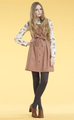Autumn/Winter 2011 Nadinoo pinafore and blouse. Don't think the tights or shoes are by Nadinoo. Cute outfit!