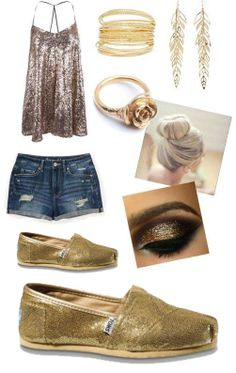Gold Toms Glitters Women's Shoes
