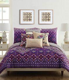 Vera Bradley Cotton Sateen Dream Comforter Mini Set - Comforter & Pillow Shams - Purple Boho Bedding