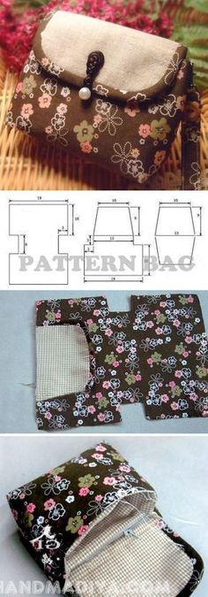 Sew a compact bag. DIY tutorial with patterns.Sew a compact bag. DIY tutorial with patterns. Purse Patterns, Sewing Patterns Free, Free Sewing, Tote Pattern, Sewing Projects For Beginners, Sewing Tutorials, Sewing Crafts, Sewing Tips, Bag Tutorials