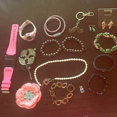 Huge 16 Piece Misc Costume Jewelry Lot Huge Misc. lot great deal for someone as I spent much more on these things! Ironman Timex running watch does work but needs battery. John 3:16 bracelet is a magnetic bracelet supposed to put you in balance./soothe-new. Hand painted bead Christmas bracelet beautiful new. Note: Some items may show signs of tarnish/wear. If you have any questions please ask prior to purchase. Note: Crochet flower is gone. Timex Jewelry