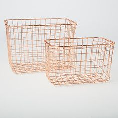 Copper Home Accessories Wire Baskets - Copper Wire Basket Magazine Post Stairs Storage Crate Vintage Metal Mesh Hamper. Wire Basket Storage, Wire Storage, Stair Storage, Crate Storage, Wire Baskets, Kitchen Storage, Cageots Vintage, Style Vintage, Wire Mesh