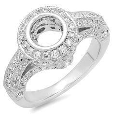 1.00 Carat (ctw) 14K White Gold Round Diamond Ladies Bridal Semi Mount Ring (No Center Stone) 1 CT -- Remarkable product available now. : Engagement Rings