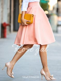 Elegant High-Waisted Solid Color Women's Skirt