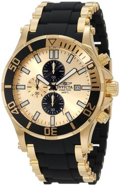 Invicta watches : Invicta Men's 1478 Sea Spider Chronograph Gold Dial Black Polyurethane Watch