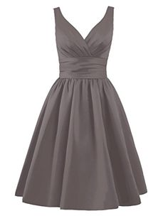 Tidetell Sexy 1950s Bridesmaid Dresses V Neck with Ruffle...