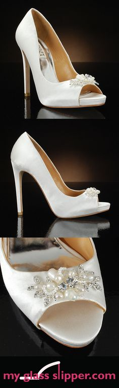 ALLIE by BADGLEY MISCHKA: Exclusive style you'll only find on MyGlassSlipper.com! This classic peep toe pump wedding shoe has a touch of feminine and elegant sparkle with a sparkly rhinestone and pearl decoration at the toe. Timelessly chic! $245    http://www.myglassslipper.com/wedding-shoes/badgley-mischka/allie-7894