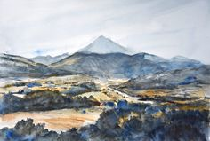 Sketch from Arnaud Martin - Mont Ventoux - watercolour Provence, Les Oeuvres, Watercolor, Mountains, Nature, Painting, Travel, Sketch, Landscape