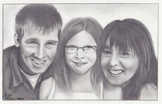 Custom Portrait - Three Subjects, Pencil Sketch Portrait, Family Portrait, From Your Photo, by SomePlaceSketchy, $160.00