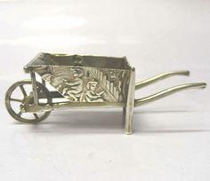 Antique Silver Miniature Wheelbarrow 1900 Stock Id 7094
