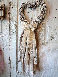 Ornate heart wreath wall hanging w/ carved roses painted white shabby cottage…