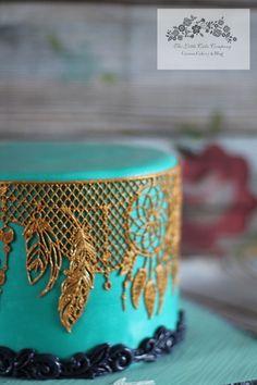 Blue and Gold Cake. Bohemian, dream catcher.