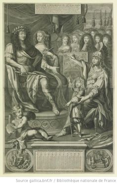 """Henriette-Anne of England, duchesse d'Orleans (1644-1670) to rear-left of easel, and Philippe d'Orleans, Monsieur (1640-1701) to rear-right of easel, in """"ESTRENE A MONSEIGNEVR LE DAVPHIN"""", 1670 engraving, French school"""