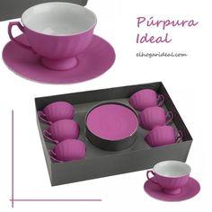 Atrevido y divertidamente romántico. El café Ideal, envuelto en púrpura. http://elhogarideal.com/es/vajillas-y-menaje/741-juego-de-cafe-malva.html#.Vd4kMPntmko