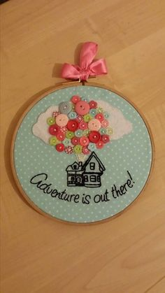 Disney Pixar UP Inspired Wall Hanging Embroidery Hoop - Adventure is out there! - Disney Pixar UP Inspired Wall Hanging Embroidery by DinkyInkStudio, - Embroidery Hoop Crafts, Embroidery Art, Cross Stitch Embroidery, Embroidery Designs, Disney Pixar Up, Disney Diy, Disney Crafts, Sewing Crafts, Sewing Projects