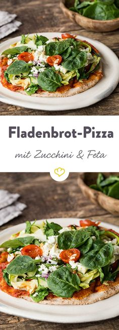 Zucchini-Pizza mit Spinat und Feta Pizza with a twist – instead of the classic yeast dough crunchy here a delicious Lebanese flatbread. On top there are tender spinach and feta. Top Recipes, Burger Recipes, Pizza Recipes, Grilling Recipes, Lunch Recipes, Vegetarian Recipes, Healthy Recipes, New Pizza, Pizza Pizza