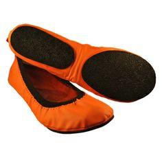 Women's Neon Tangerine Folding Flats | Overstock.com