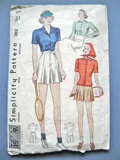 1930s Women's Tennis Outfit Pattern by Simplicity by Fancywork, $12.00