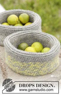 "Crochet DROPS basket in 2 strands ""Eskimo"". ~ DROPS Design"
