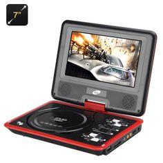7 pollici Lettore DVD portatile con funzione di gioco - Schermo ruotabile, Rosso