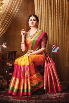 India is so special for the rich cultural variety and colorful dressing traditions. Saree (sari) is the best among Indian dresses. Bridal Sarees South Indian, Wedding Silk Saree, Indian Silk Sarees, Soft Silk Sarees, Indian Beauty Saree, Pattu Sarees Wedding, Wedding Saree Blouse Designs, Half Saree Designs, Designer Sarees Wedding