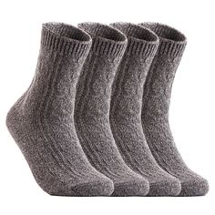 Henny Rue - Lovely Annie Women's 4 Pairs Pack Fashion Soft Wool Crew Socks Size 6-9 AHR1613(Grey) - Walmart.com - Walmart.com Womens Wool Socks, Fleece Socks, Women's Socks, Rain Boot Socks, Thighs Women, Cashmere Socks, Fashion Socks, Women's Fashion, Winter Socks