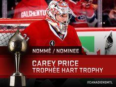 En nomination pour le joueur le plus utile à son équipe pour la saison. Carey Price Montreal Canadiens, Football Helmets, Hockey, Learning, Sports, Deserts, Hs Sports, Postres, Sport