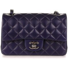 CHANEL Lambskin Quilted Rectangular Mini Flap Dark Purple ❤ liked on Polyvore featuring bags, handbags, shoulder bags, chanel shoulder bag, mini handbags, chanel handbags, blue evening bag and quilted crossbody