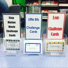 Makerspace challenge cards - this is a great, passive way to get students to try out new activities in your makerspace.