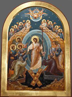 Christ is risen! Religious Paintings, Religious Art, Greek Icons, Church Icon, Paint Icon, Christ Is Risen, Religious Pictures, Jesus Resurrection, Byzantine Icons