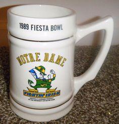 """Vintage NCAA 1989 Sunkist Fiesta Bowl NOTRE DAME Fightin Irish Beer Stein 5 1/2"""" #NotreDame"""