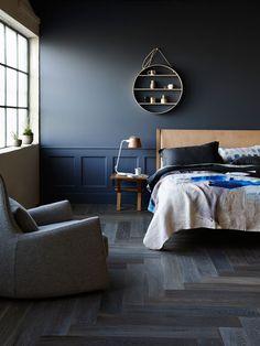 Navy Dark Blue Bedroom Design Ideas Pictures: Bedroom Walls Herringbone Flooring By Royal Oak Floors Oak Bedroom, Bedroom Decor, Master Bedroom, Planchers En Chevrons, Royal Oak Floors, Dark Blue Bedrooms, Blue Floor, Grey Flooring, Bedroom Flooring
