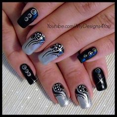 Nail Art: Tattoo, Black and Silver Nails #tutorial #nailart - Go to bellashoot.com or #beautyapp for beauty inspiration!