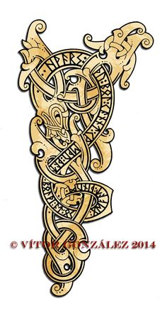 """Runic wyrm in Rongerike style for a custom tattoo.The runic inscription is a quote from the Havamal, Odin speaks to Lodfafnir: """"When you come upon misdeeds Speak out against those misde..."""