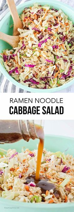 This ramen noodle cabbage salad with chicken is so tasty and comes together in minutes! Light, crunchy and the perfect combination of flavors! It's sure to become a Summer staple! #cabbage #ramen #ramennoodle #ramensalad #cabbagesalad #salad #saladrecipe #recipe #easyrecipe #lunch #sidedish #iheartnaptime