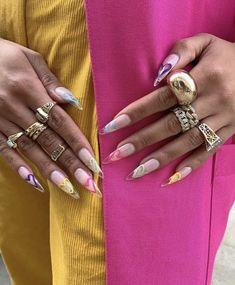 Garra, Almond Acrylic Nails, Almond Nails, Long Stiletto Nails, Rainbow Nails, Dream Nails, Cute Makeup, Acrylic Nail Designs, Swag Nails