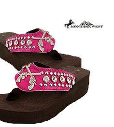 Montana West Camouflage Cross Guns & Rhinestones Flip Flop Sandals