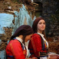 Sardinian girls in traditional dress.
