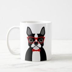#Boston Terrier Wearing Red Bow Tie Coffee Mug - #funny #coffee #quote #quotes