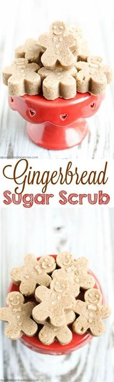Gingerbread sugar scrub cubes - these mini gingerbread are made with soap and sugar scrub for an exfoliation. This sugar scrub makes a great handmade gift idea for Christmas!
