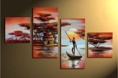 galleryworldwide Hand Painted Oil Painting 4 Pics African Grassland Lake Boating Large Modern Abstract Wall Art Deco Home Decoration (Unstretch No Frame) Modern Oil Painting, Oil Painting Abstract, Abstract Wall Art, Canvas Wall Art, Painting Canvas, Contemporary Wall Art, Cool Paintings, Decoration, Art Decor