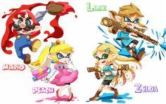 707 The Nintendo Inklings! (Artist: sbrk_koo (2017): https://t.co/nkwBjRvrG4) #Mario #Zelda #Splatoon #Nintendo https://t.co/VjuIC0nzgR