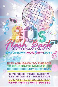 Back To The 80s Birthday Digital Printable Invitation Template Flash