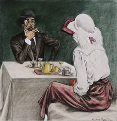 Couple in a Cafe, c.1920 by Rudolf Bauer (German 1889–1953)