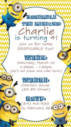 Cutest Despicable Me Invite On Etsy So Adorable Minion Party