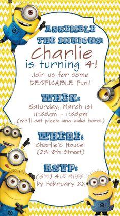 Customised Minion Birthday Invitation Printable By ArtworkByAnti - Minions birthday invitation images